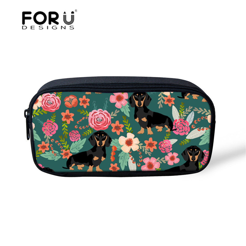FORUDESIGNS Cosmetic Bag Makeup Organizers Dachshund Dog Printing Prncil Case Children Portable Make Up Pouch School Supplies