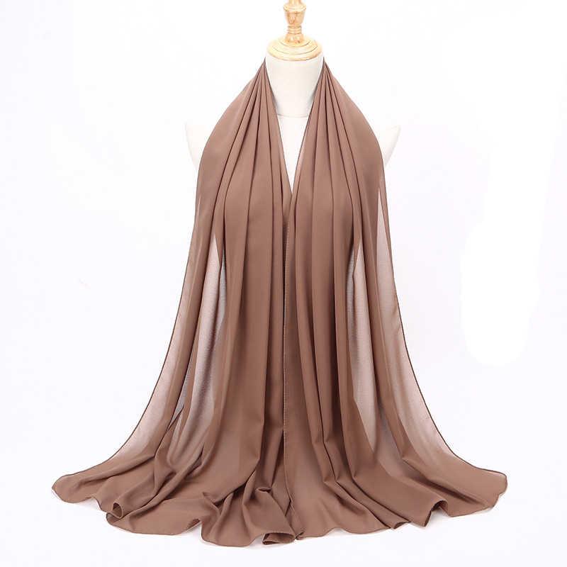 Мусульманский шарф, женский простой шифоновый хиджаб с пузырьками, головной платок, мягкий длинный мусульманский головной шарф, жоржет, шарфы хиджабы