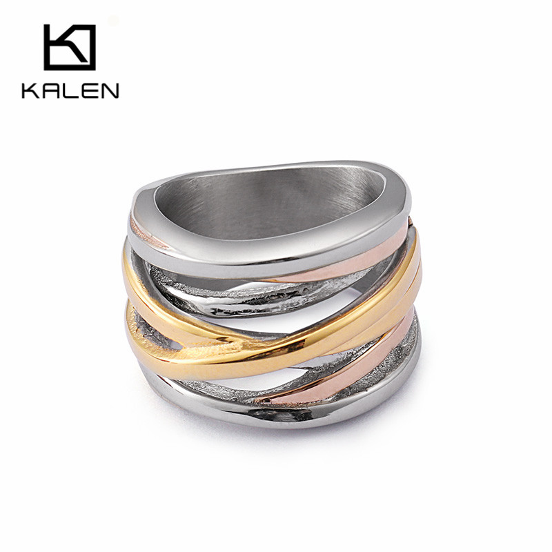 KALEN Stainless Steel Silver Rings For Women Bohemia Rose Gold Tri-color X Finger Rings For Girls Fashion Ladies Rings  Jewelry