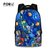 2015 New Large 17 Inch Men Laptop Backbag Brand Tropical Fish Print Men S Travel Bags