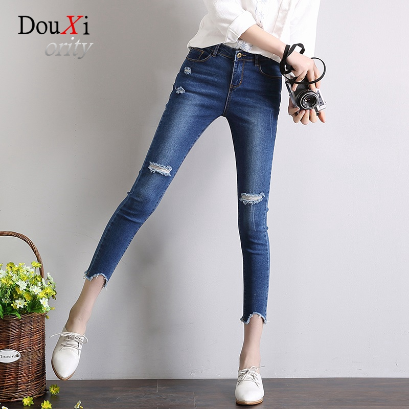 2017 Summer Women Jeans Hole Ripped Worn Stretch Skinny Slim Hip Up Thin Pencil Female Pants Ankle-length C Denim Trousers high waist jeans women soft hole ripped skinny slim stretch denim jeans for girl push up jeans ankle length camisa feminina