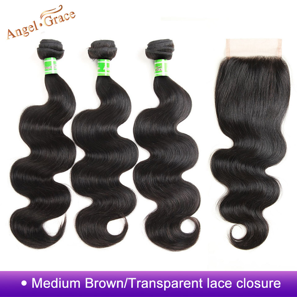 Angel Grace Hair Store Malaysian Body Wave Human Hair Bundles With Closure 3 Bundles With Closure