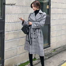 Plus Size Fashion Autumn Winter Women Coats Black Long Sleeve Loose Turn-down Collar Woollen Plaid Coat Vintage Work