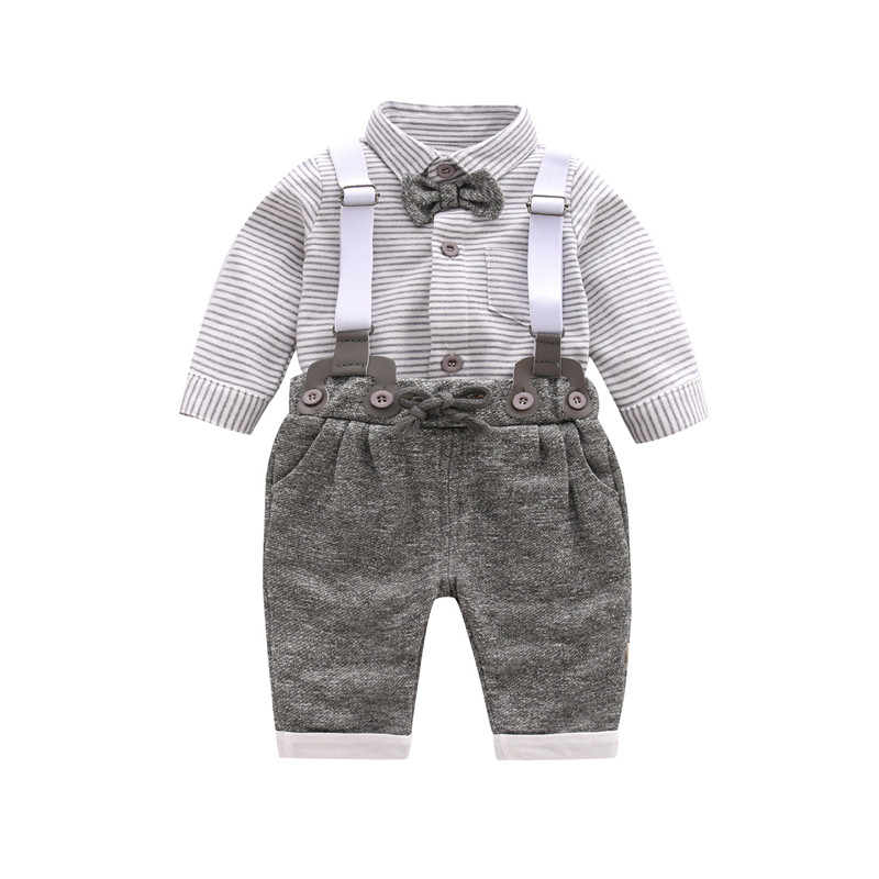 Boys Clothing Set Spring Gentleman Suit British Style Pants + Shirt With Tie Fashion Baby Boys Dress 4pcs set boys clothing set gentleman kids plaid shirt with vest and bow and pants fashion wedding boys suit baby boys clothes