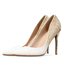 2019 Thin High Heels Shoes Woman Gold Silver Pointed Toe Pumps Women Wedding Shoes Bridal Ladies Shoes Big Size 34-46 H0010 недорого