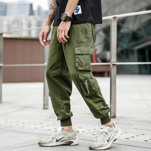 Fashion Streetwear Men Jeans Army Green Loose Fit Multi Pockets Cargo Pants Harem Trousers Slack Bottom Hip Hop Jogger