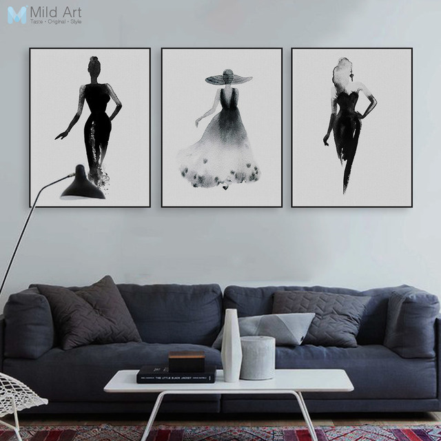 Modern Nordic Black White Fashion Model Large Canvas Art Print ...