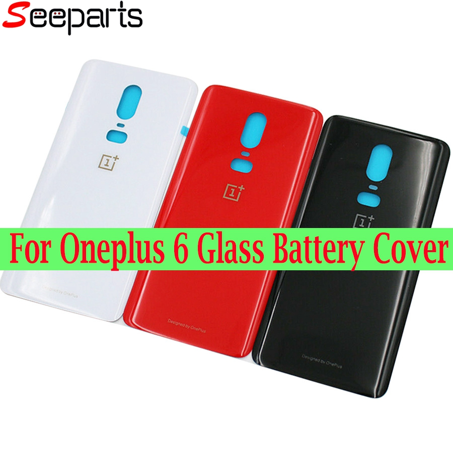 For Oneplus 6 Glass Battery Cover Door Smart Phone Back Cover Replacement Repair Part For One Plus 6T 1+6