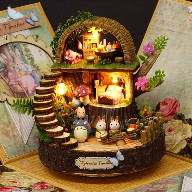 DIY Resin Anime Cottages Music Box My Neighbor Totoro Birthday Gift Fantasy Forest Candy Cat Figurine 1 Piece Free Shipping