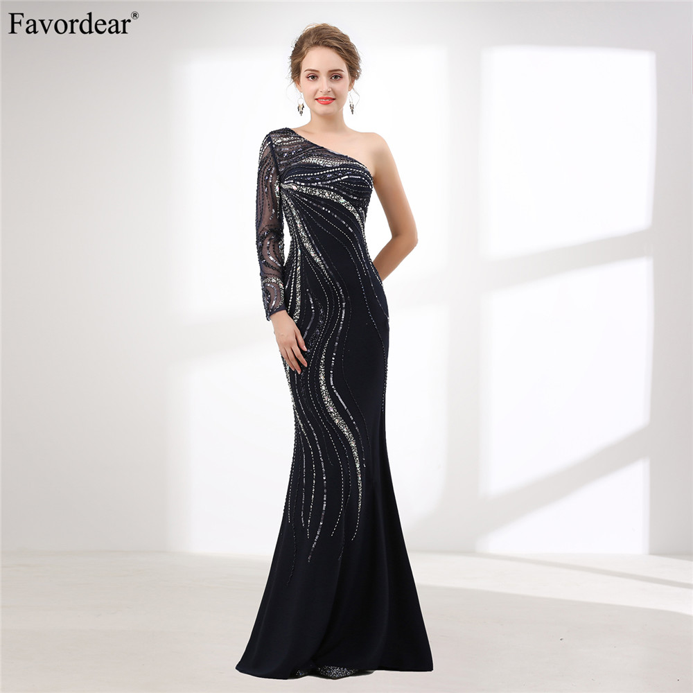 Favorablement 2018 nouvelle Collection Vintage robes de soirée perlées brillant une épaule à manches longues bleu marine robes de soirée offre spéciale