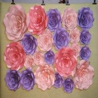 23 ADET SET Karton Pencere Ekran Için Dev Kağıt Çiçek Gül Düğün Backdrop Fotoğraf Stüdyosu Arka Plan Duvar Kağıdı Deco