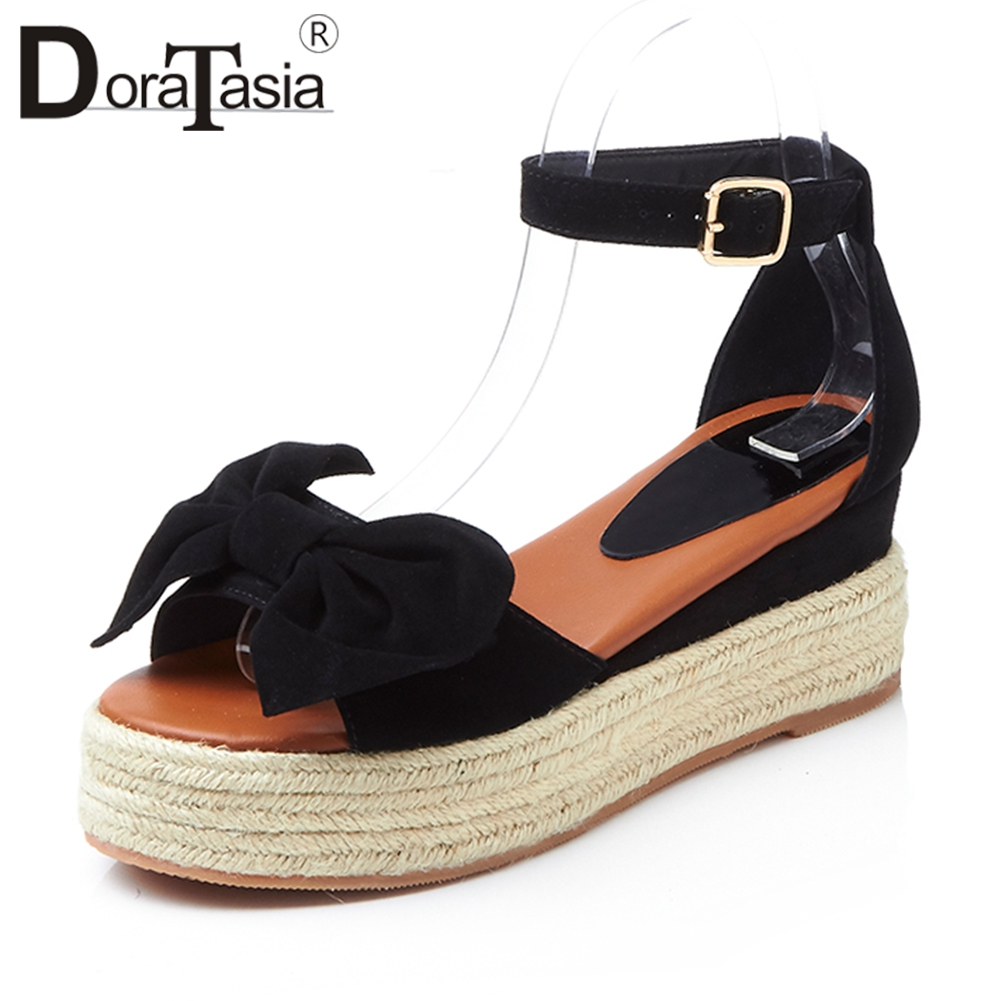 Doratasia 2018 Summer New Natural Kid Suede Elegant Platform Sandals Women butterfly-knot High Wedges Cover Heels Shoes Woman