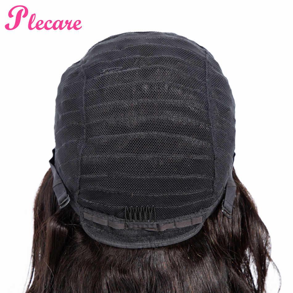 Plecare 4*4 Human Hair Wigs Brazilian Wavy Lace Closure Human Hair Wigs For Black Women Non-remy Natural Color