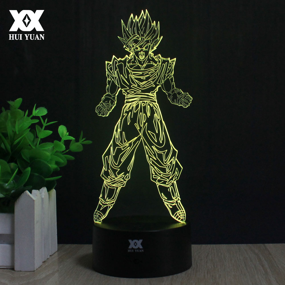 Dragon Ball Son Goku 3D Lamp LED 7 Color Remote Control Night Light USB Novelty Decoration Table Lamp Creative Cartoon Gift beiaidi 7 color usb rechargeable rabbit led night light dimmable animal cartoon light with remote baby kids christmas gift lamp