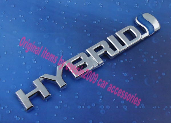 Auto car chrome HYBRID Blue for Prius Emblem Badge Sticker auto chrome for 2008 2013 genesis front rear wing emblem badge sticker
