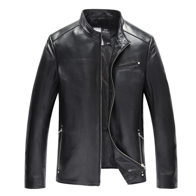 2017 New Sheepskin Men Jacket Natural Genuine Leather Fashion Casual Motorcycle Hip Hop Jacket