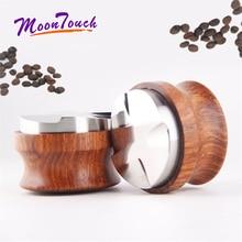 58 мм нержавеющая сталь кофе трамбовщик четыре угловой наклон желтый палисандр Профессиональный эспрессо регулируемые деревянные молотки кофе инструмент