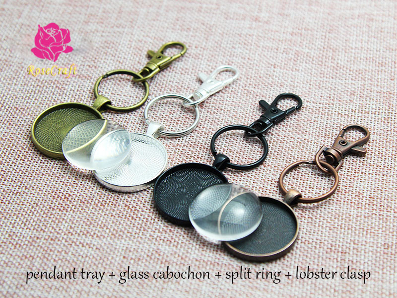 100 Sets Handmade Blank Keychain Pendant Base Setting 25mm Round Blank Clear Glass Cabochon 25mm Key