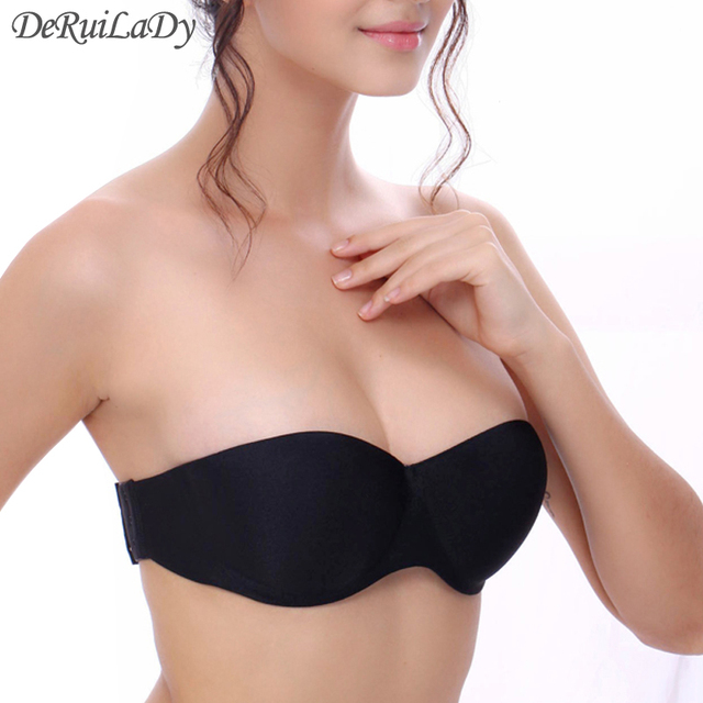 DeRuiLaDy Fashion Strapless Bras Seamless Push Up Bras Half Cup Underwire Back Closure Women Underwear Invisible Bra