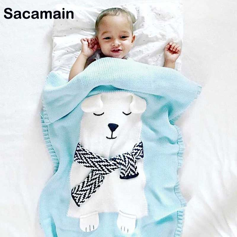 Baby Blanket Knitted Newborns Envelope Baby Blanket Knitted Bear Soft Baby Swaddle Wrap Warm Boys Girls Kids Bedding Cover