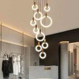 Image 3 - Post Modern İskandinav ahşap asılı ışık LED Hanglampen oturma odası merdiven otel Bar daire yuvarlak akrilik kolye ışıkları