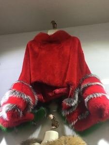 Image 3 - Mode luxus frauen echten full pelt nerz poncho mit fuchs pelz manschette 100% echtpelz hohe kragen pullover schals und wrap mantel