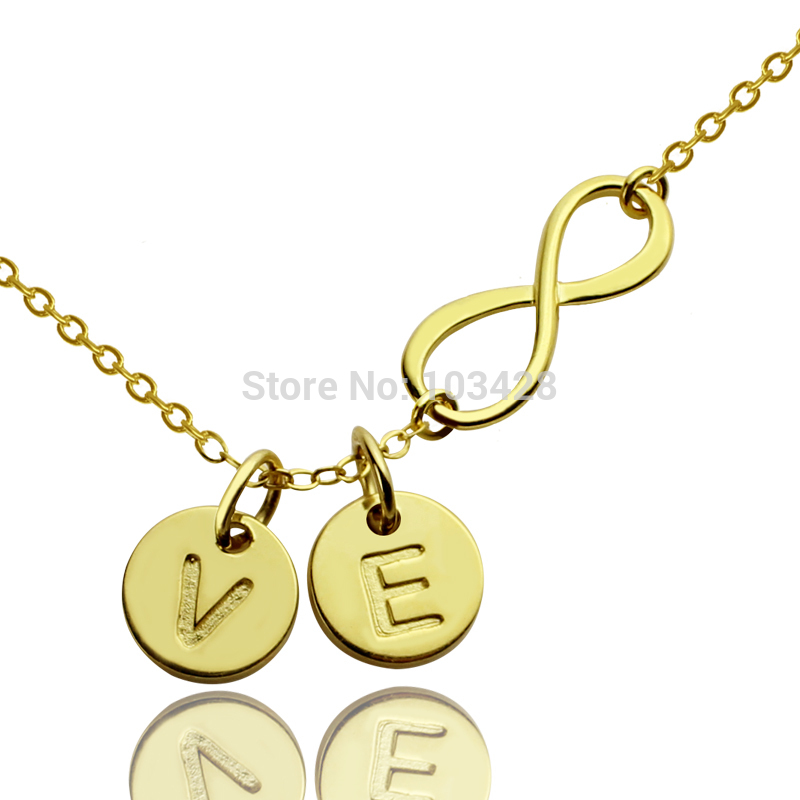 AILIN Gold Color Infinity Name Necklace Personalized Infinity 2 Initials Necklace Forever Love Jewelry Valentine's Day Gift 3 in 1 men shaver blade electric shaver shaving machine rechargeable floating razor washable beard trimmer nose ear hair trimmer
