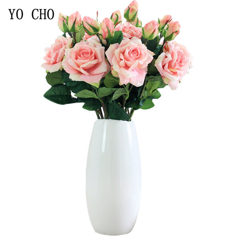YO CHO Artificial Flower Rose Bridal Bouquet Pink Gold Wedding ...