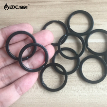 10PCS 1.1/28mm stainless steel TA2 Split KeyRing Keychain EDC Small Keyring circle,outdoor travel goods black