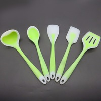 5pcs Set Flexible Silicone Heat Resistant Spoon Fork Mat Rest Utensil Spatula Holder Kitchen Tool Sets