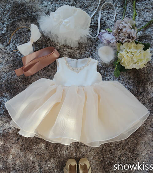 ФОТО 2017 short Champagne 1 year birthday baby dress beaded flower girl dresses Toddler Kids first communion gown