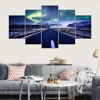 Canvas Wall Art Painting Modern Living Room Decorative Wall Picture 5 Panel Aurora Highway Home Decor