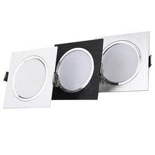 عكس الضوء LED النازل 3 واط 5 واط 7 واط 9 واط 12 واط 15 واط AC85 265V مربع الفضة أسود أبيض LED السقف أسفل مصباح إضاءة داخلية مع محرك الأقراص