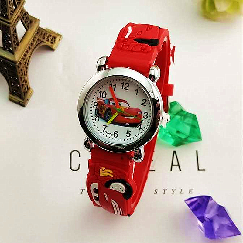 Popular Car Print Leather Belt Watch Student Boys And Girls Cartoon Quartz Watch