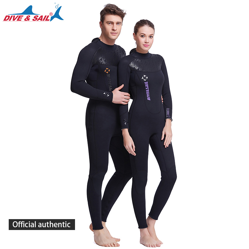 DIVE&SAIL Offical Store Women Men 3MM Neoprene SCR Scuba Diving Wet Suit keep warm Full body Wetsuits for under water hunting
