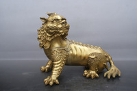 Chinese old bronzes Lion beast copper Statue
