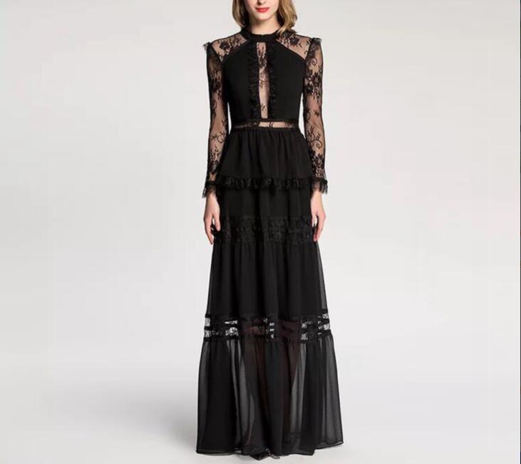Haute qualité hiver noir longue robe élégante célébrité mode o-cou de noël soirée à manches longues robes femmes