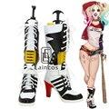 Горячая Аниме Suicide Squad Харли Квинн Косплей Halloween Party Обувь Белый и Черный Необычные Сапоги На Заказ