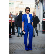 2017 New Pant Suits Women Casual Office Business Suits Formal Work Wear Royal Blue Elegant Pant Suits Summer Spring Custom Made