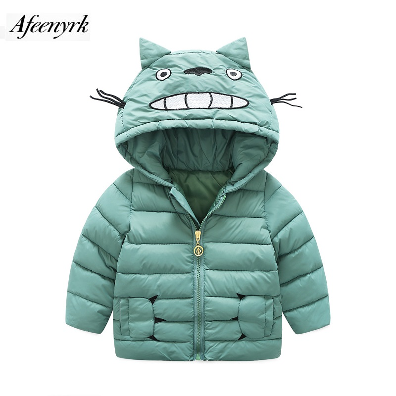 Fashion 2017 Jacket Outwear Cute Cartoon Cat Girls Boys Coat Paws Pocket Hooded  Winter Cotton-padded Thickening Kids Clothes children thicken warm winter coat kids cotton padded jacket wadded outwear thickening boys girls fur hooded parkas clothes y105