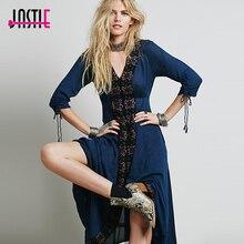 Jastie путешествие в горизонт платье полупрозрачное Gauzy на пуговицах вышитое Макси платье с v-образным вырезом 4/3 рукав Лето Boho Vestidos