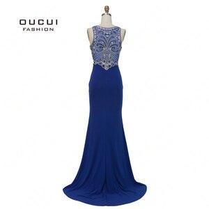 Image 2 - Robe sirène diamant De luxe, robe De soirée Vintage élégante, bleu Royal, Scoop, style sirène, collection 2019, OL103168