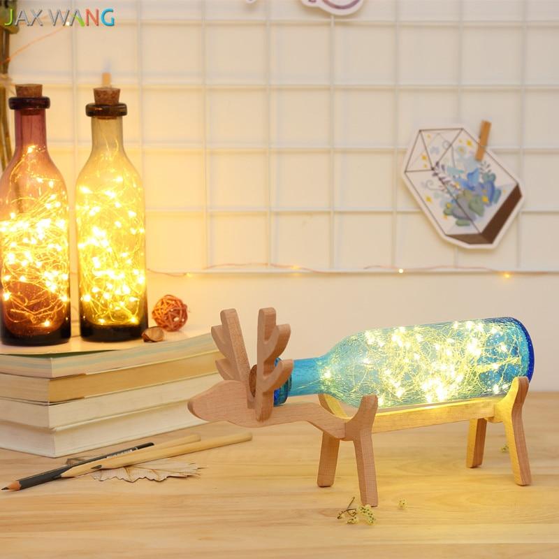 Nordic Houten Exquisite Elanden Warme Woonkamer Slaapkamer Cafe Bar Decoratieve Lamp Romantische Wijnfles Lamp Creatieve Diynight Lichten