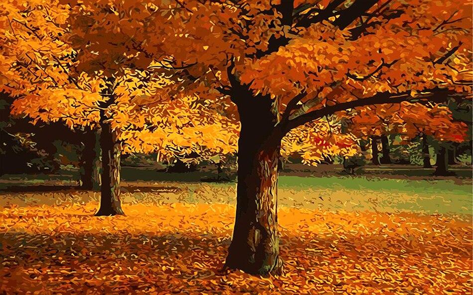 DIY sonbahar rüzgar akçaağaç yaprağı tuval resimlerini elle - Ev Dekoru - Fotoğraf 2