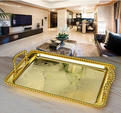 luxury european Rectangle gold silver plated meal storage tray serving tray decoration food tray for home