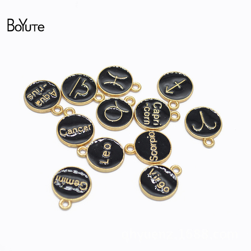 BoYuTe (12 PiecesSet) Metal Alloy Black Enamel Zodiac Signs Charms Pendant Diy Hand Made Jewelry Accessories (2)