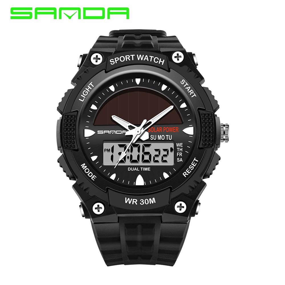 SANDA solar power watch men's sports watch men's luxury brand 30m waterproof watch Digital Quartz LED Clock Men