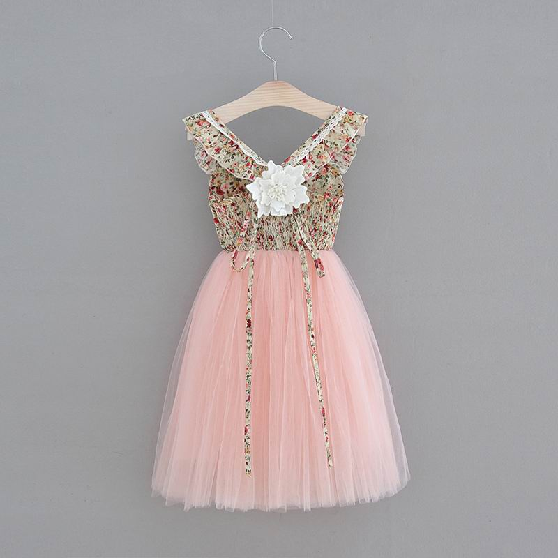 Wholesale Easter Girl Princess Dress Beige Floral Mid Calf Length Pink Gauze Backless Sweet Dress Children