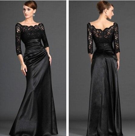 H1080 vente chaude robes formelles à manches longues noir Satin sirène dentelle robes longues 2019