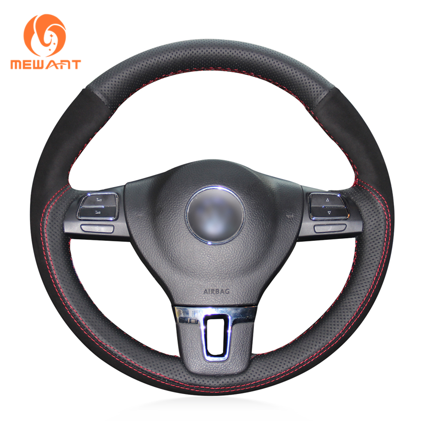 MEWANT Black Genuine Leather Black Suede Steering Wheel Cover for Volkswagen VW Gol Tiguan Passat B7 Passat CC Touran Jetta Mk6 цена
